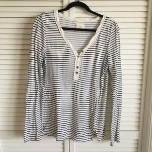 Anthropologie t.la Striped Button Long Sleeve